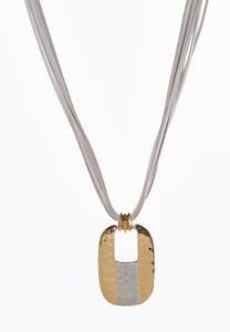 Two-Toned Square Pendant Necklace