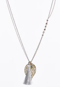Filigree Leaf Tassel Necklace