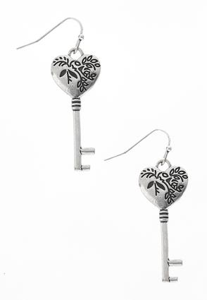 Etched Heart Key Earrings