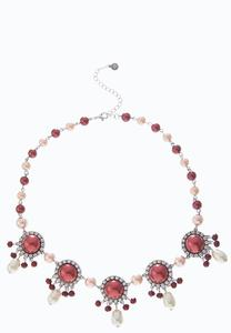Pearl Wine Bead Bib Necklace