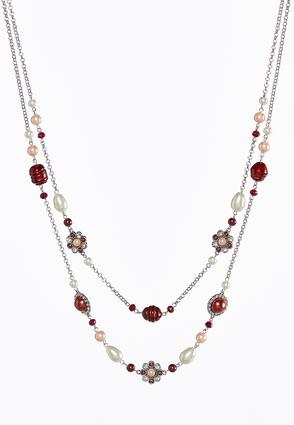 Layered Wine Pearl Bead Necklace