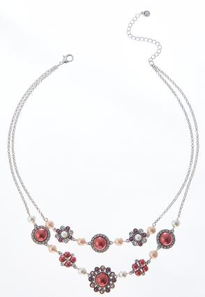 Layered Wine Pearl Necklace