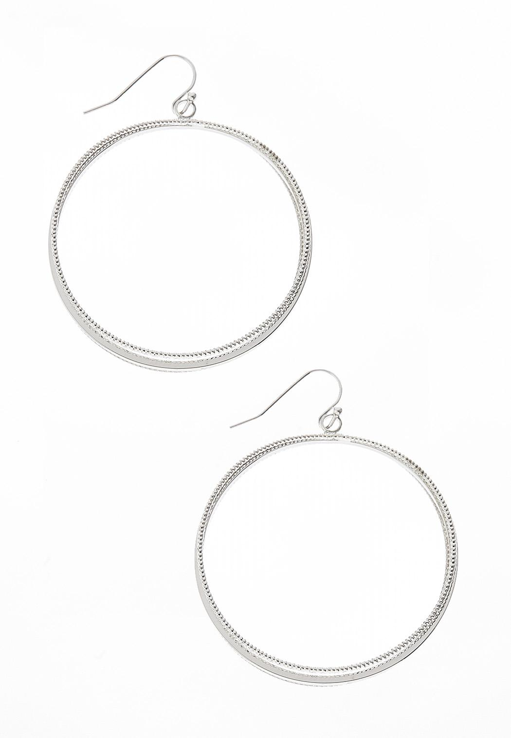 3 Row Metal Hoop Earrings
