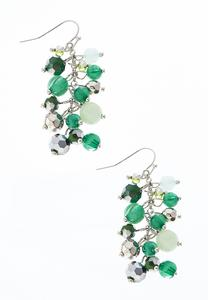 Emerald Cluster Dangle Earrings