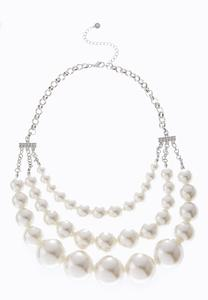 Three Row Graduated Pearl Necklace