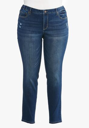 Plus Size Distressed Shape Enhancing Jeans | Tuggl