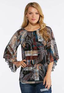 Mesh Smocked Paisley Top