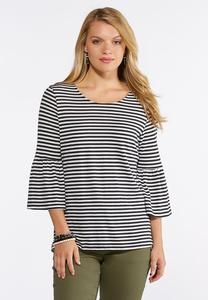 Contrast Stripe Bell Sleeve Top