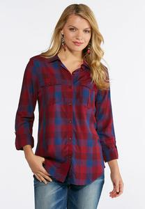 Plus Size Wine And Navy Plaid Shirt