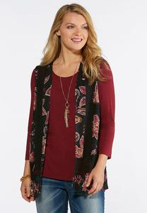 Plus Size Floral Lace Trim Vest