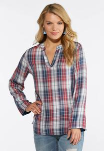 Muted Farmhouse Plaid Top