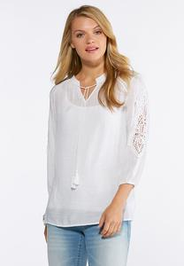 Plus Size Crinkled Crochet Trim Poet Top