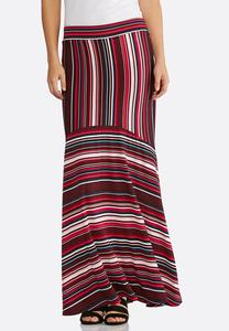 Plus Size Pink Mixed Stripe Maxi Skirt