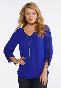 Plus Size Bright Blue Tie Sleeve Top