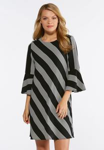 Contrast Stripe Bell Sleeve Dress