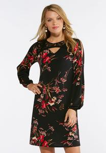 Plus Size Cold Shoulder Lace Yoke Dress