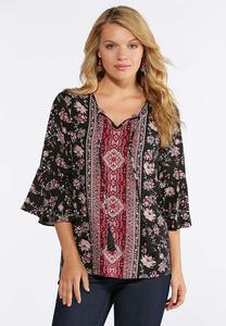 Plus Size Wine Floral Bell Sleeve Top