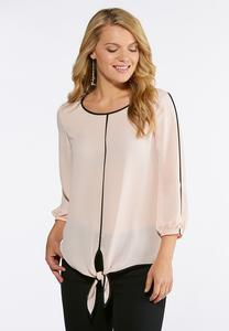 Two-Toned Tie Front Top