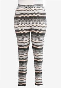 Plus Size Chevron Hint Of Pink Leggings