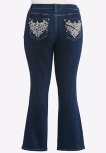 Plus Size Western Embellished Jeans