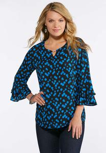 Plus Size Hardware Ruffle Sleeve Printed Top