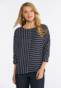 Plus Size Navy Stripe Pullover Top