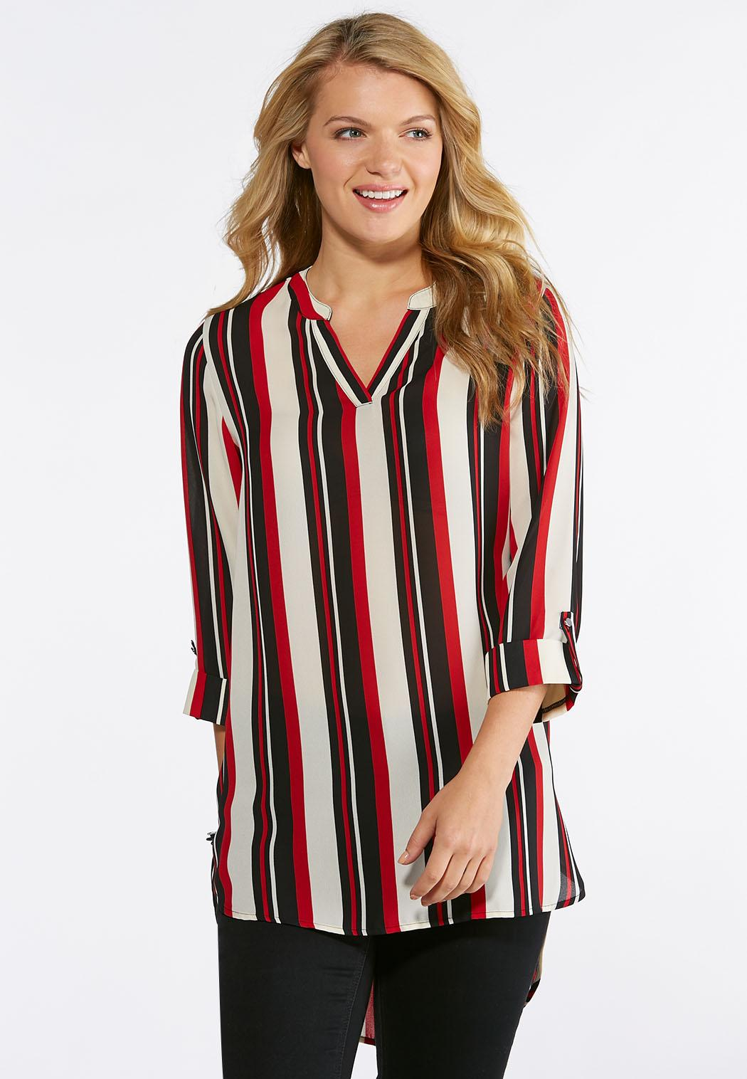 556d1987eb69d Striped High-Low Top Shirts   Blouses Cato Fashions