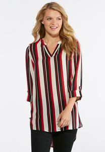 Plus Size Striped High-Low Top