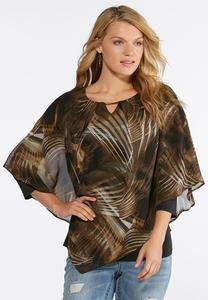 Plus Size Embellished Leaf Capelet