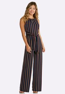 Plus Petite Striped Tie Waist Jumpsuit