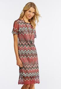 Lacy Chevron Midi Dress