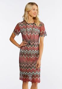 Plus Size Lacy Chevron Midi Dress