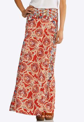 Plus Size Floral Paisley Maxi Skirt | Tuggl