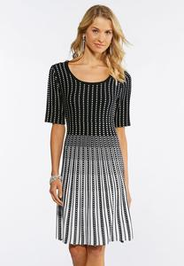 Contrast Check Fit and Flare Dress