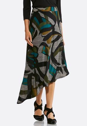 Asymmetrical Abstract Print Skirt   Tuggl