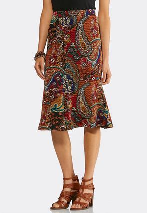 Flounced Floral Paisley Midi Skirt   Tuggl