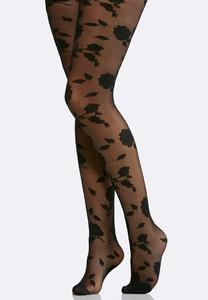 Plus Size Rose Print Tights