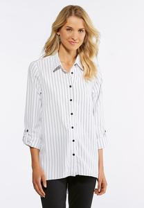 Plus Size Striped High-Low Boyfriend Shirt