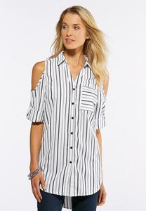 Plus Size Cold Shoulder Stripe Shirt
