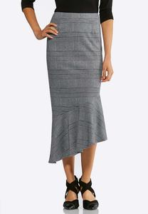 Plus Size Plaid Asymmetrical Skirt