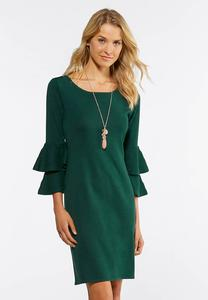 Plus Size Double Ruffle Sweater Dress