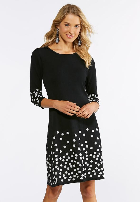 Plus Size Dot Border Sweater Dress Plus Sizes Cato Fashions