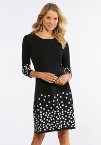 Plus Size Dot Border Sweater Dress
