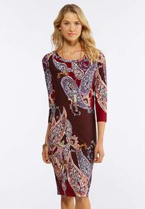 Plus Size Wine Paisley Midi Dress