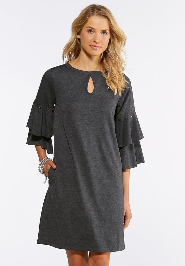 Plus Size Studded Ruffle Sleeve Dress Plus Sizes Cato Fashions