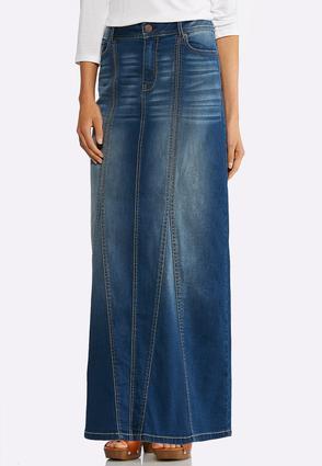 Whiskered Denim Maxi Skirt   Tuggl
