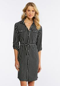 Plus Size Stripe Tie Waist Shirt Dress