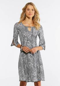 Seamed Silver Ring Dress