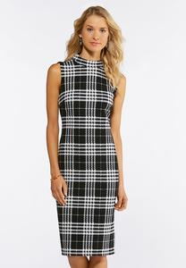 Plus Size Textured Check Midi Dress