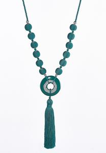 Thread Wrapped Ball Tassel Necklace